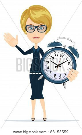 Cute pretty girl with an alarm clock, vector illustration