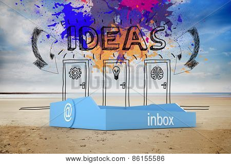 Blue inbox against idea doors on the beach