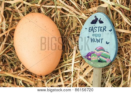 Easter egg hunt sign against egg nestled in straw