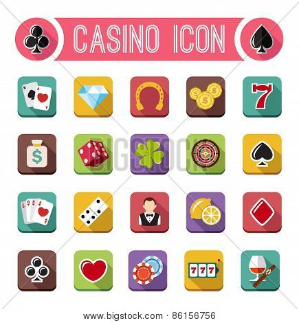 Vector casino flat icons, slot machine