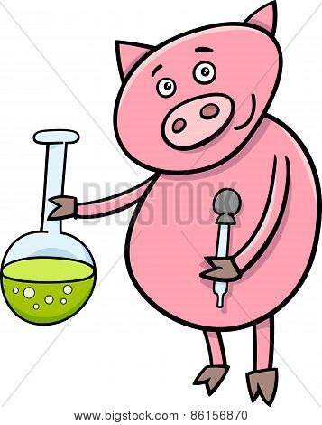 Piglet At Chemistry Cartoon Illustration