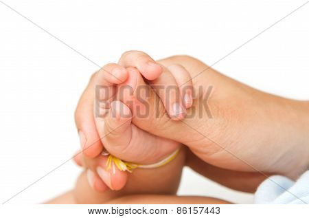 Mother Holding Her Baby's Hand Together,touch Of Love Tenderness