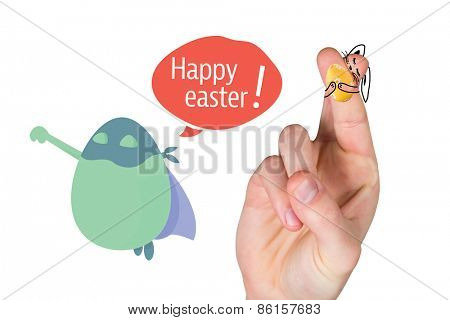 Fingers as easter bunny against happy easter greeting