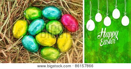 happy easter graphic against green paint splashed surface
