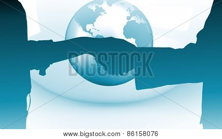 Close up of a business people closing a deal against planet on grey abstract background