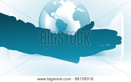 Businessman reaching hand out against planet on grey abstract background