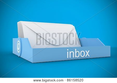 Blue inbox against blue background with vignette