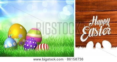 happy easter against overhead of wooden planks