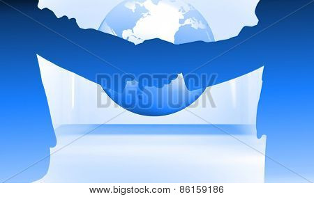 Side view of shaking hands against planet on grey abstract background