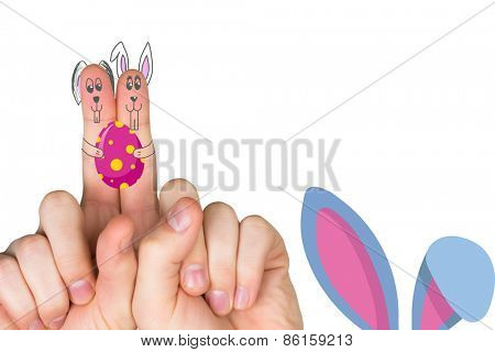 Fingers as easter bunny against easter bunny ears