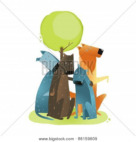 Group of Cartoon Dogs Sitting under Tree Smiling
