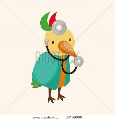 Animal Bird Doctor Cartoon Theme Elements