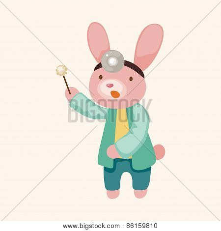 Animal Rabbit Doctor Cartoon Theme Elements