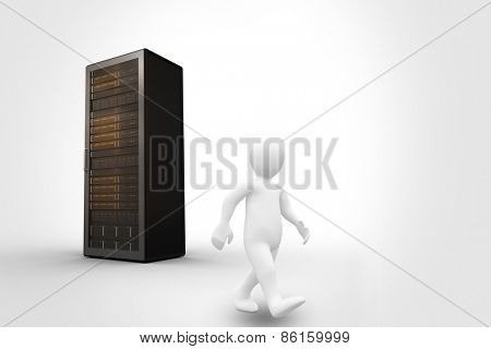 White character walking against server tower