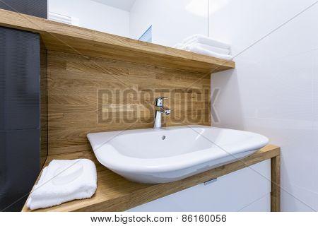 Toilet Interior With Wooden Design
