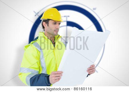 Architect analyzing blueprint over white background against blueprint