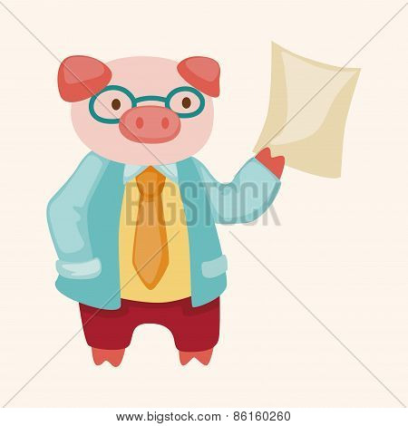 Animal Pig Doctor Cartoon Theme Elements