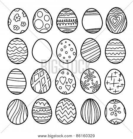 Vector set of easter eggs. Black and white illustration