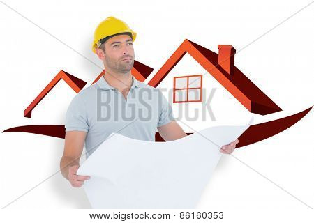 Thoughtful male architect holding blueprint against house roofs