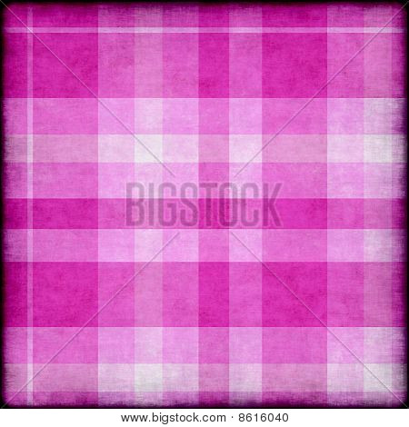 Pink and white plaid grunge background