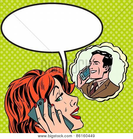 Woman Man Phone Talk Pop Art Vintage Comic