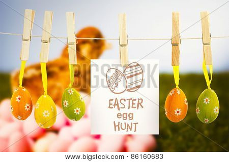 easter egg hunt graphic against stuffed chick with easter eggs