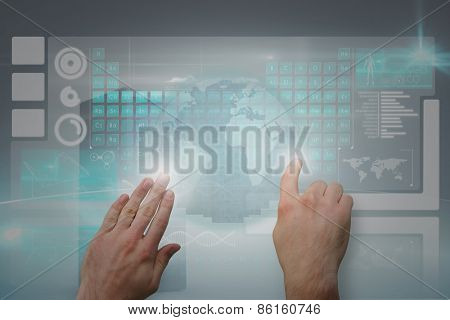 Hands pointing and presenting against digitally generated black server tower