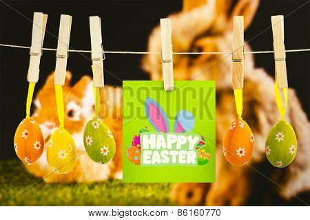 Happy Easter greeting against ginger bunny rabbit