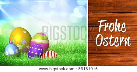 Frohe ostern against overhead of wooden planks