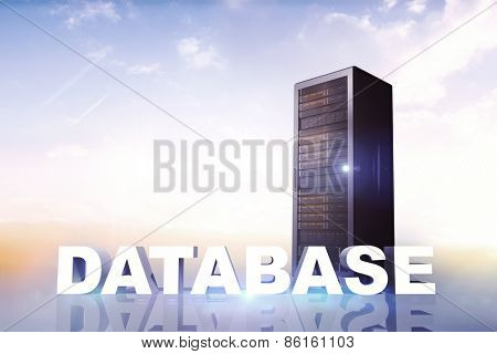 database against bright blue sky with cloud