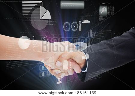 Close up of a handshake against data technology background