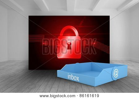 Blue inbox against room with futuristic picture of red lock