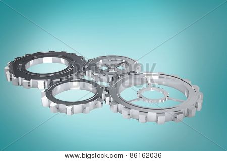 cogs and wheels against blue vignette background