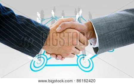Business people shaking hands against lines linking characters