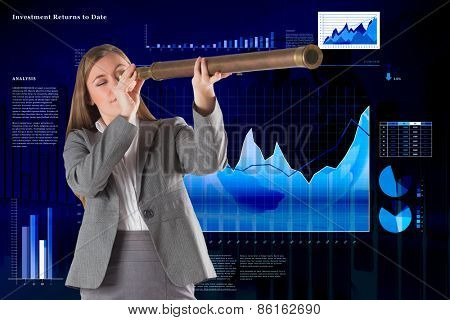 Businesswoman looking through a telescope against business interface with graphs and data