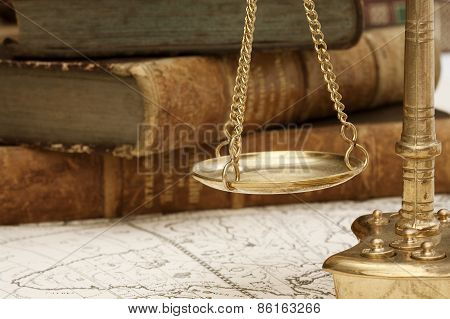 Scale of Justice and old books