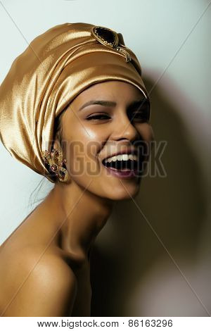 beauty african woman in shawl on head, very elegant look
