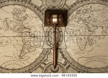 Gavel on old map