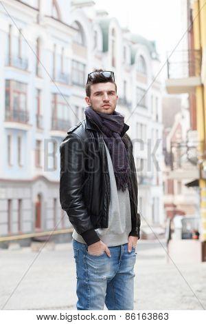 Portrait Of Stylish Guy Outdoors
