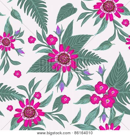 Modern flowers seamless pattern