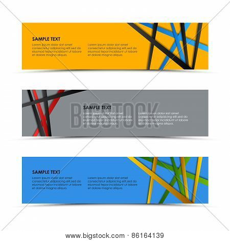 Abstract Colored Striped Banners Template