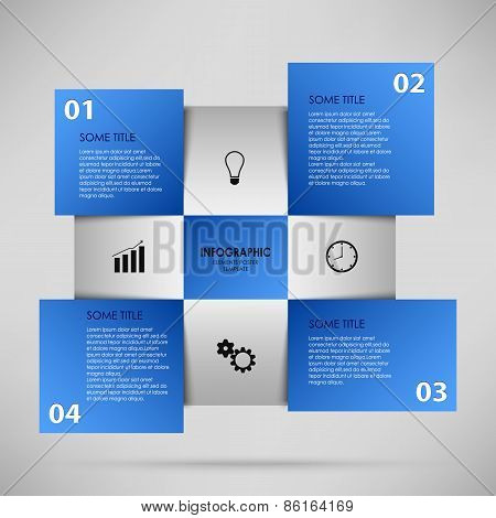 Abstract Info Graphic With Blue Squares