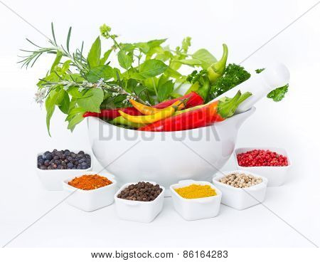 Variety of fresh herbs and spices