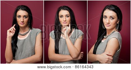 Attractive brunette woman in gray blouse posing dramatic on purple background. Long hair female art
