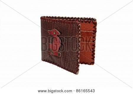 Brown wallet on white background