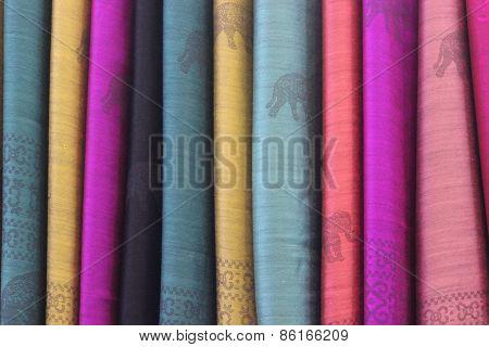textiles, set of colorful fabrics