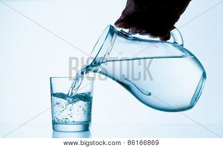 Water poured from a jug into a glass