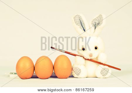 Funny Bunny With Eggs And Brush