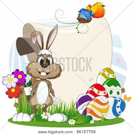 Rabbit With Flowers And Easter Eggs