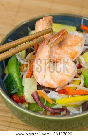 Chinese food - shrimp and rice noodle stir fried